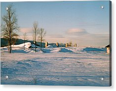 Crown Point Chimneys With Snow Acrylic Print by David Fiske