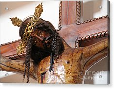 Crucifixion Carving Tepoztlan Acrylic Print by Linda Queally