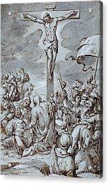 Crucifixion Acrylic Print by Johann or Hans von Aachen