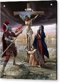 Crucifixion-divine Mercy Acrylic Print by Kurt Miller