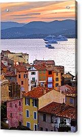 Cruise Ships At St.tropez Acrylic Print by Elena Elisseeva