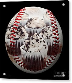 Cupcake Cuties Baseball Square Acrylic Print by Andee Design