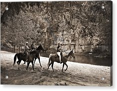 Current River Horses Acrylic Print by Marty Koch