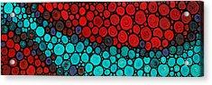 Currents - Red Aqua Art By Sharon Cummings Acrylic Print by Sharon Cummings