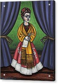 Curtains For Frida Acrylic Print by Victoria De Almeida