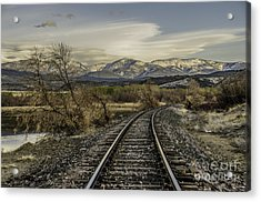 Curve In The Tracks Acrylic Print by Sue Smith