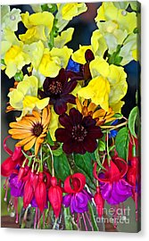 Cut Bouquet Of Beautiful Flowers Acrylic Print by Valerie Garner