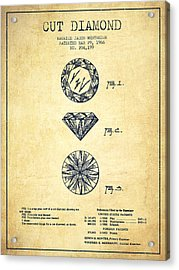 Cut Diamond Patent From 1966 - Vintage Acrylic Print by Aged Pixel