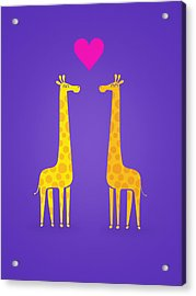 Cute Cartoon Giraffe Couple In Love Purple Edition Acrylic Print by Philipp Rietz