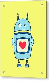 Cute Clumsy Robot With Heart Acrylic Print by Boriana Giormova