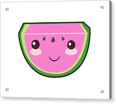 Cute Watermelon Illustration Acrylic Print by Pati Photography