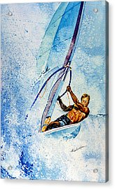 Cutting The Surf Acrylic Print by Hanne Lore Koehler