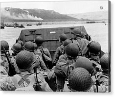 D-day Soldiers In A Higgins Boat  Acrylic Print by War Is Hell Store