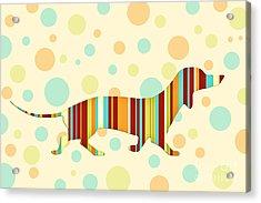 Dachshund Fun Colorful Abstract Acrylic Print by Natalie Kinnear