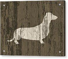 Dachshund On Wood Acrylic Print by Flo Karp
