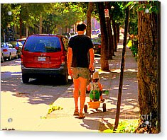 Daddy's Little Buddy Perfect Day Wagon Ride Montreal Neighborhood City Scene Art Carole Spandau Acrylic Print by Carole Spandau