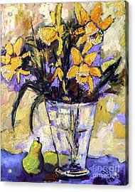Daffodils And Pears Still Life Acrylic Print by Ginette Callaway