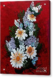 Daisies Lilacs And Forget Me Nots Acrylic Print by Barbara Griffin