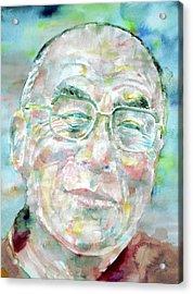 Dalai Lama - Watercolor Portrait Acrylic Print by Fabrizio Cassetta