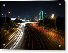 Dallas Night Light Acrylic Print by Jonathan Davison