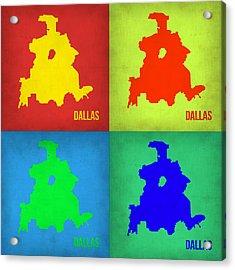Dallas Pop Art Map 1 Acrylic Print by Naxart Studio