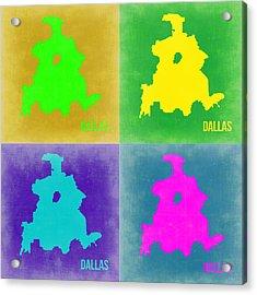 Dallas Pop Art Map 2 Acrylic Print by Naxart Studio