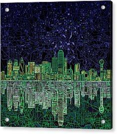 Dallas Skyline Abstract 4 Acrylic Print by Bekim Art