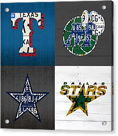 Dallas Sports Fan Recycled Vintage Texas License Plate Art Rangers Mavericks Cowboys Stars Acrylic Print by Design Turnpike