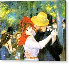 Dance At Bougival Detail Acrylic Print by Pierre Auguste Renoir