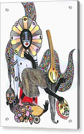 Dance Of The Masks, 2012 Pen, Ink And Colour Pencils On Paper Acrylic Print by Zanara/ Sabina Nedelcheva-Williams