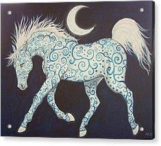Dance Of The Moon Horse Acrylic Print by Beth Clark-McDonal
