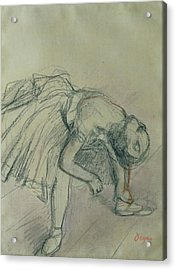 Dancer Fixing Her Slipper Acrylic Print by Edgar Degas