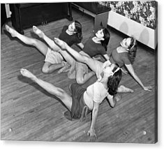 Dancers Warmup Exercises Acrylic Print by Underwood Archives