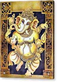 Dancing Ganesh Acrylic Print by Vishwajyoti Mohrhoff