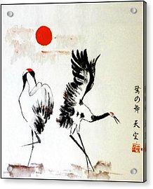 Dancing Herons Suginomai Acrylic Print by Vlad Grigore