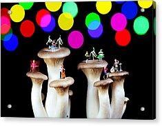 Dancing On Mushroom Under Starry Night Acrylic Print by Paul Ge
