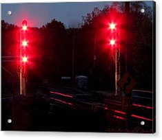 Danger Train Signals On Acrylic Print by Danielle  Parent