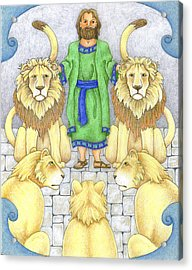 Daniel In The Lions' Den Acrylic Print by Alison Stein