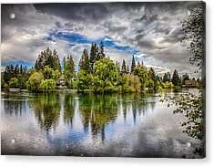 Dark Clouds Over Mirror Pond Acrylic Print by John Williams