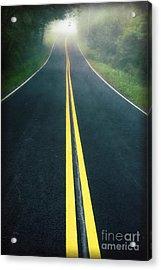 Dark Foggy Country Road Acrylic Print by Edward Fielding