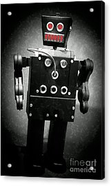 Dark Metal Robot Oil Acrylic Print by Edward Fielding