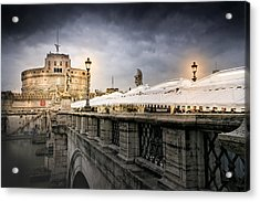 Dark Winter Evening At Castel Sant'angelo - Rome Acrylic Print by Mark E Tisdale
