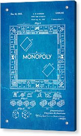 Darrow Monopoly Board Game Patent Art 1935 Blueprint Acrylic Print by Ian Monk