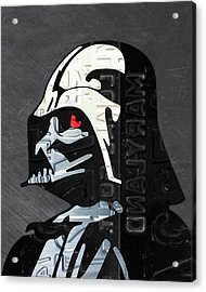 Darth Vader Helmet Star Wars Portrait Recycled License Plate Art Acrylic Print by Design Turnpike