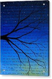Dave Matthews Band Crush Song Lyric Art Acrylic Print by Michelle Eshleman