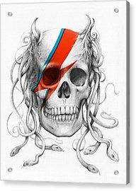 David Bowie Aladdin Sane Medusa Skull Acrylic Print by Olga Shvartsur