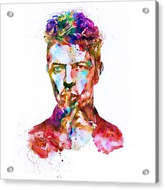 David Bowie Watercolor Acrylic Print by Marian Voicu