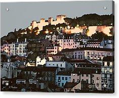 Dawn At St. George Castle Lisbon Acrylic Print by Linda  Parker
