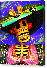 Day Of The Dead Fashion Acrylic Print by Ron Regalado