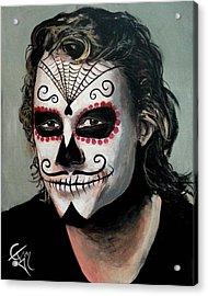 Day Of The Dead - Heath Ledger Acrylic Print by Tom Carlton